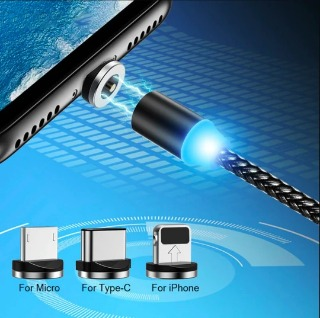 Magnetic Smart Cable - 3 in 1 Cable with LED for Android, All Type C Mobiles and iOS Mobiles Fast Charging Cable (Black)