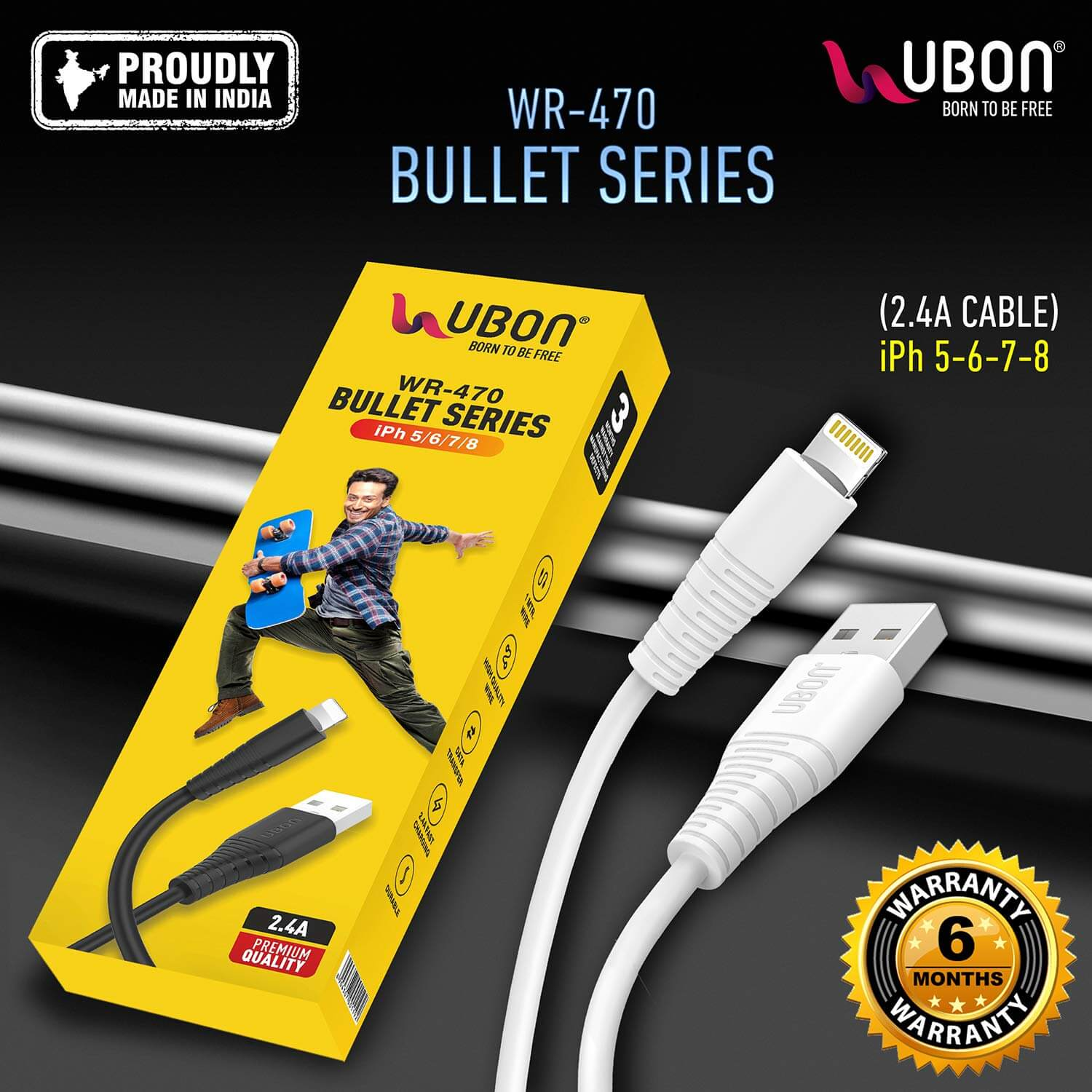 UBON WR-470 2.4A Cable for Fast Charging